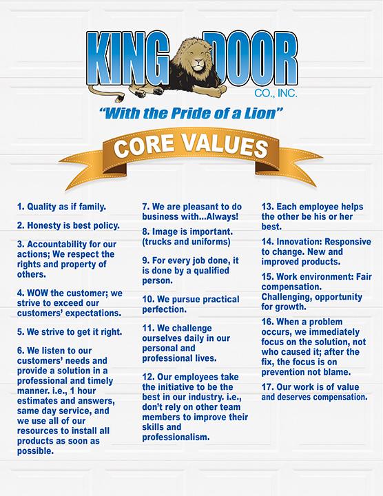 King Door Core Values